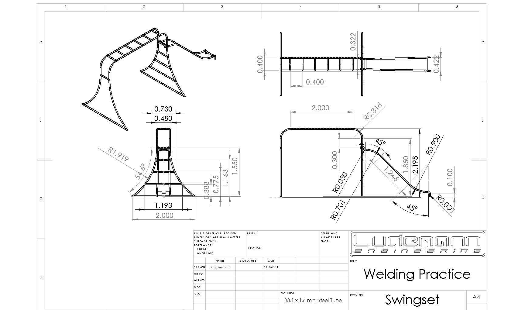 Free download swing set drawing ludemannengineering for Playground blueprints